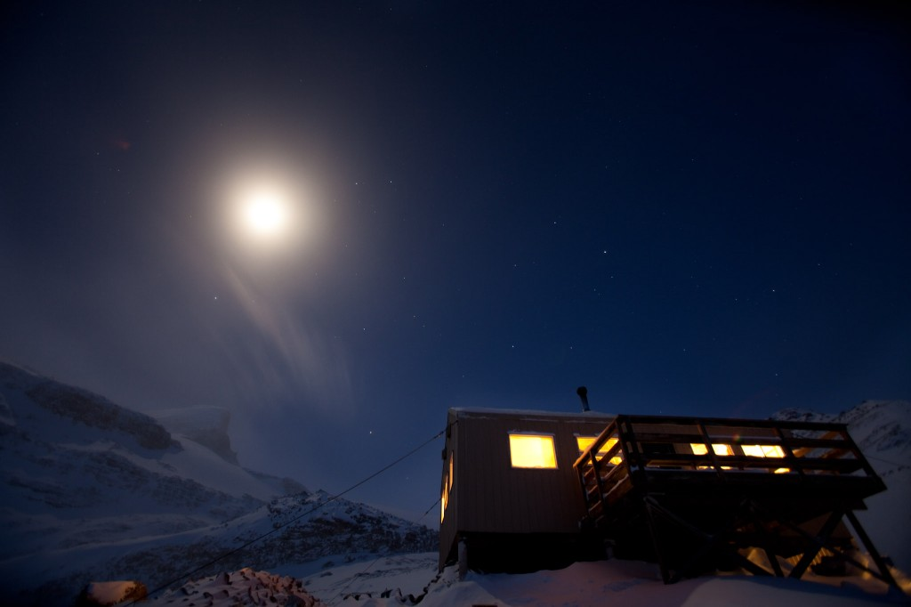 Moon over Bow hut